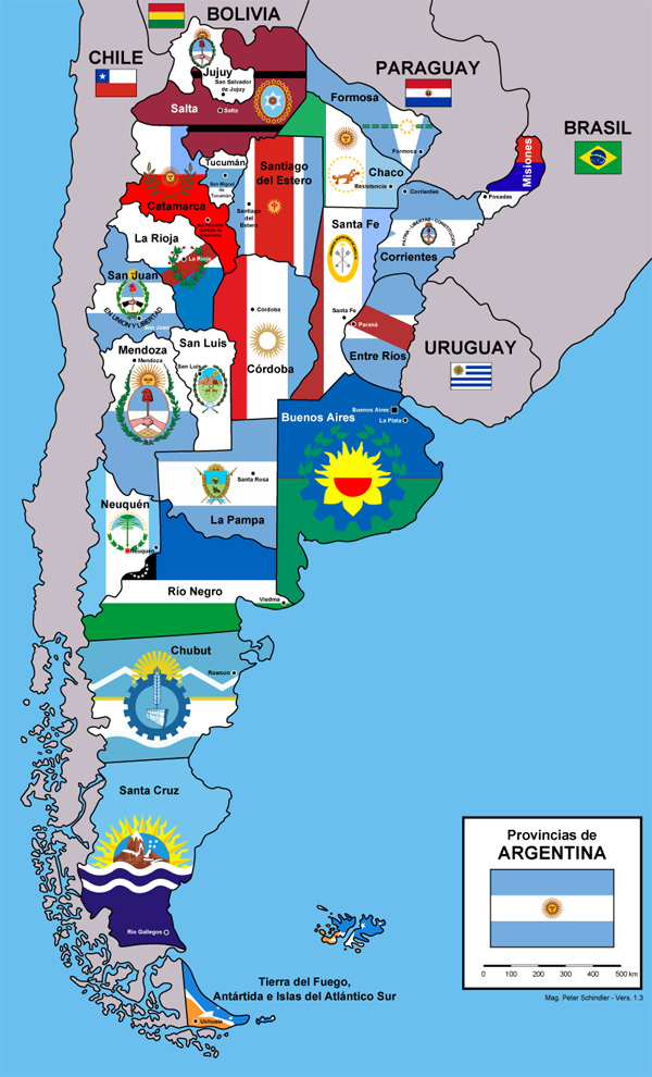 The provinces of Argentina (with flags)